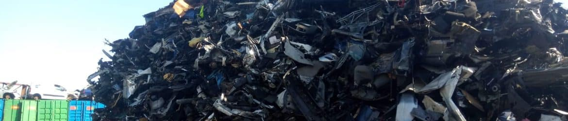 Scrap cars including Hyundai cars being recycled