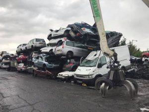 A van in a scrap yard
